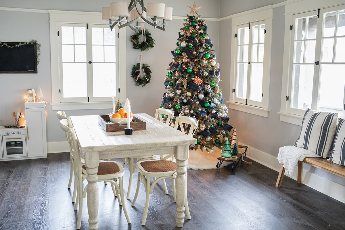 Woodsy Green Plaid and Copper Christmas Tree
