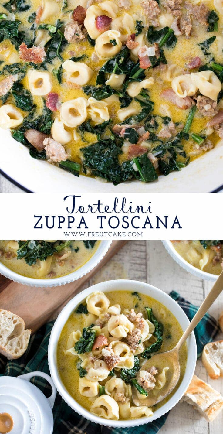 Tortellini Zuppa Toscana inspired by the famous Olive Garden Zuppa Toscana will be your family's new favorite weeknight soup recipe! Italian sausage, kale, bacon, cheese tortellini and a creamy broth make for a flavorful and delicious 30 minute meal. #soup #zuppatoscana #olivegarden #recipe #easy #weeknight #comfortfood