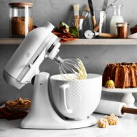 KitchenAid Artisan White Mixer with Hobnail Bowl