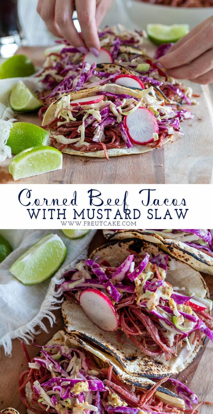 Switch up St. Patrick's Day dinner with these easy and delicious Corned Beef Tacos with Mustard Slaw! #cornedbeef #tacos #stpatricksday #cornedbeeftacos