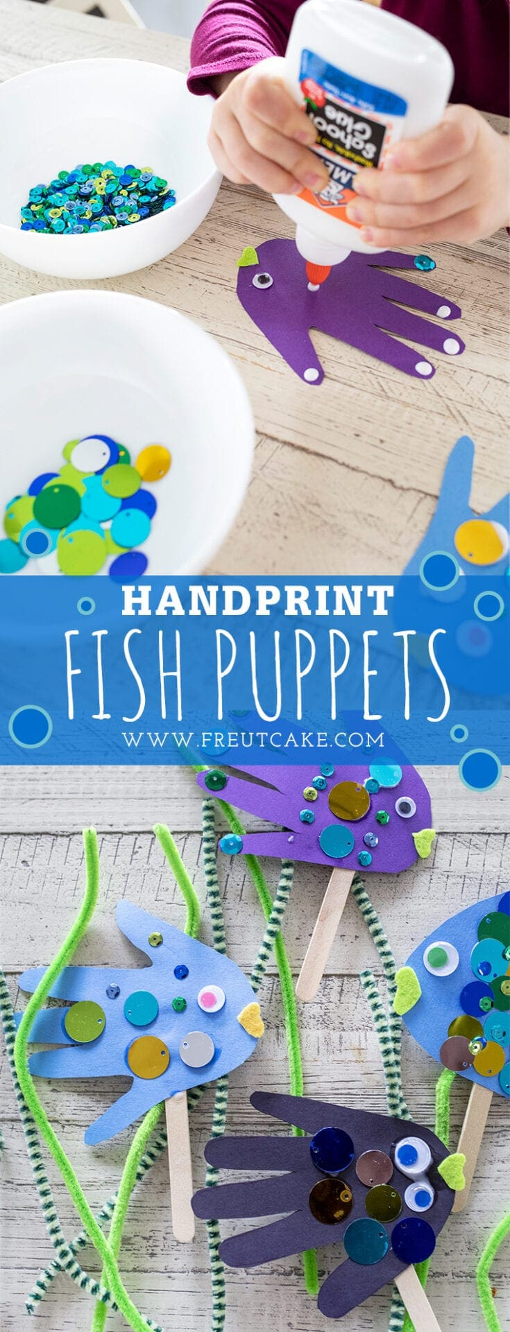 Looking for an inside craft? Turn your child's handprint into sparkling underwater fish puppets with this easy and fun tutorial.