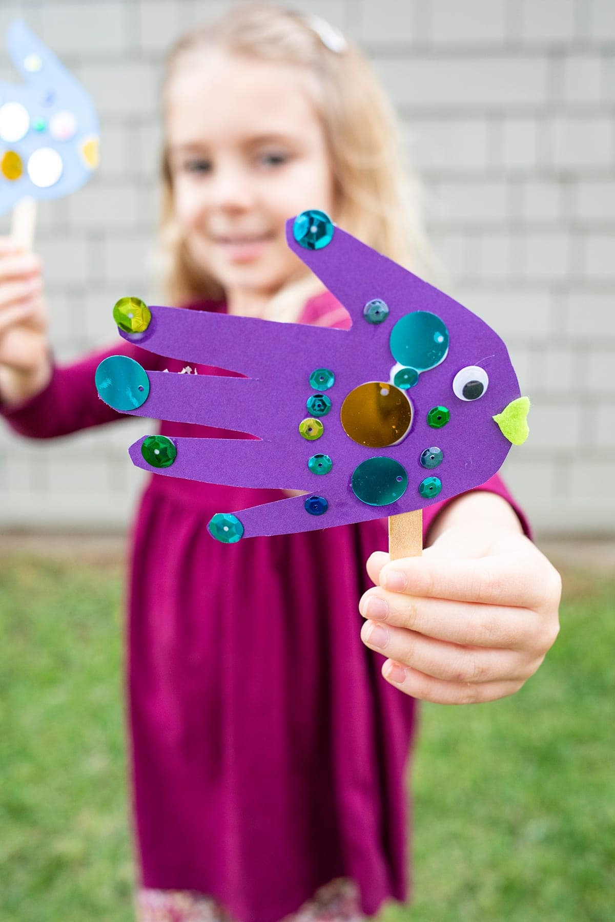 Handprint Fish Puppet Craft For Kids