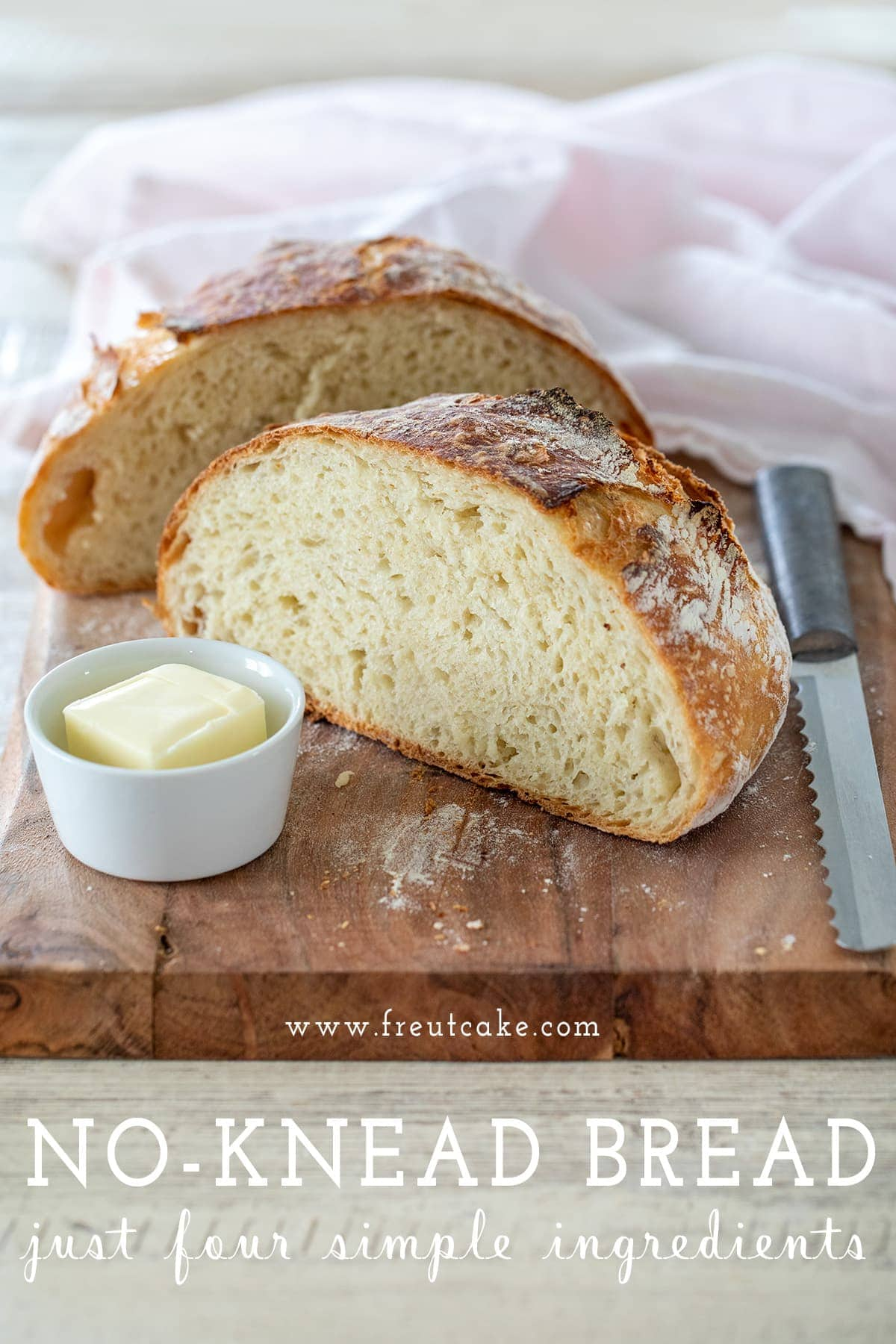 No Knead Bread Recipe with just 4 Ingredients!