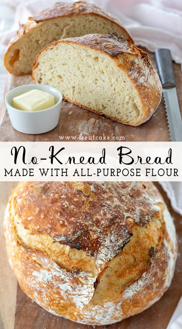 An easy tried and true no-knead bread recipe using 4 simple ingredients, including all purpose flour. #nokneadbread #dutchoven #breadrecipe #homemadebread #easyrecipe