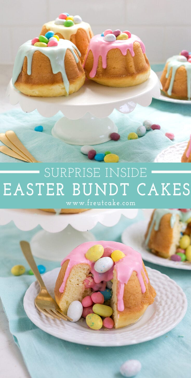 Mini vanilla bundt cakes with a surprise candy center make the cutest Easter cakes!  #suprisecake #candy #easter #minicake #minibundt #bundtcake #vanillacake