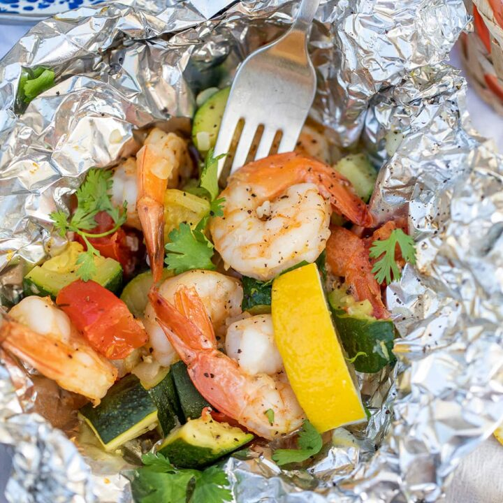 Lemon Garlic Shrimp Grill Packets