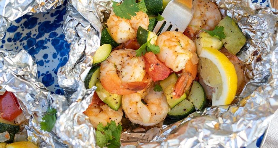Lemon Garlic Shrimp Grill Packets