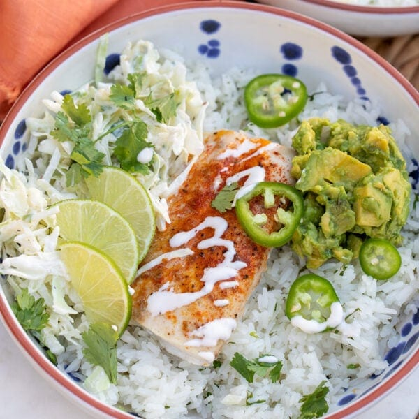 Fish Taco Bowls with Cilantro Lime Rice