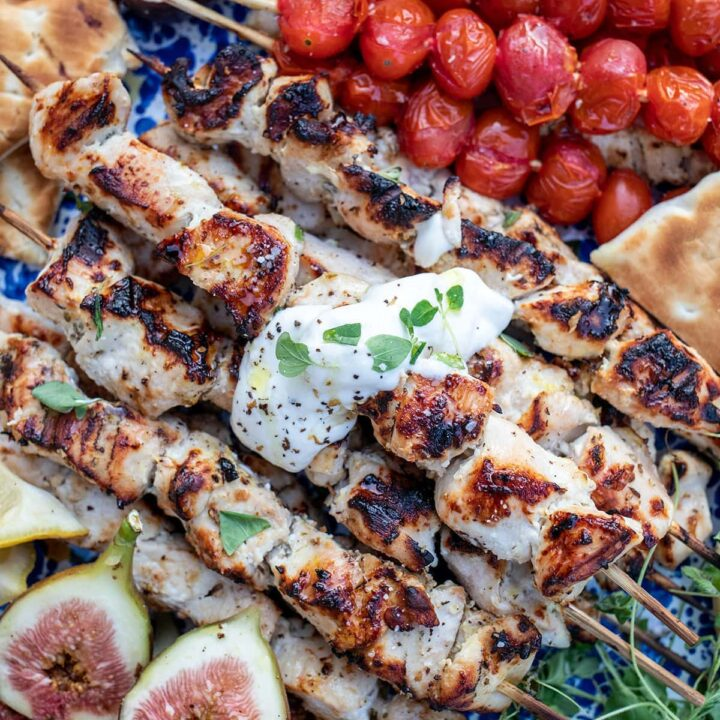 Marinated Greek Yogurt Chicken Skewers are perfect for grilling!
