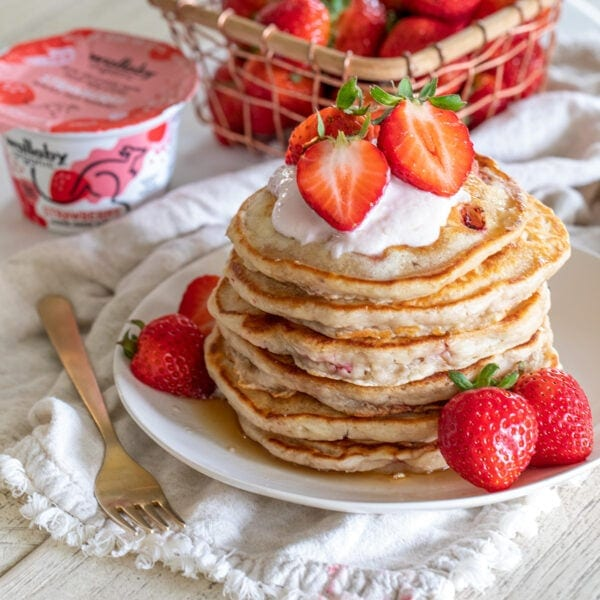 Double Strawberry Yogurt Pancakes