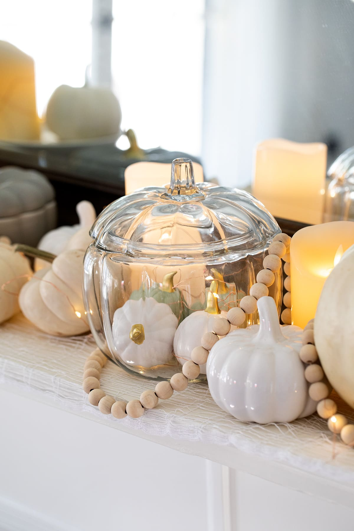 Chic White Pumpkin Halloween Decor
