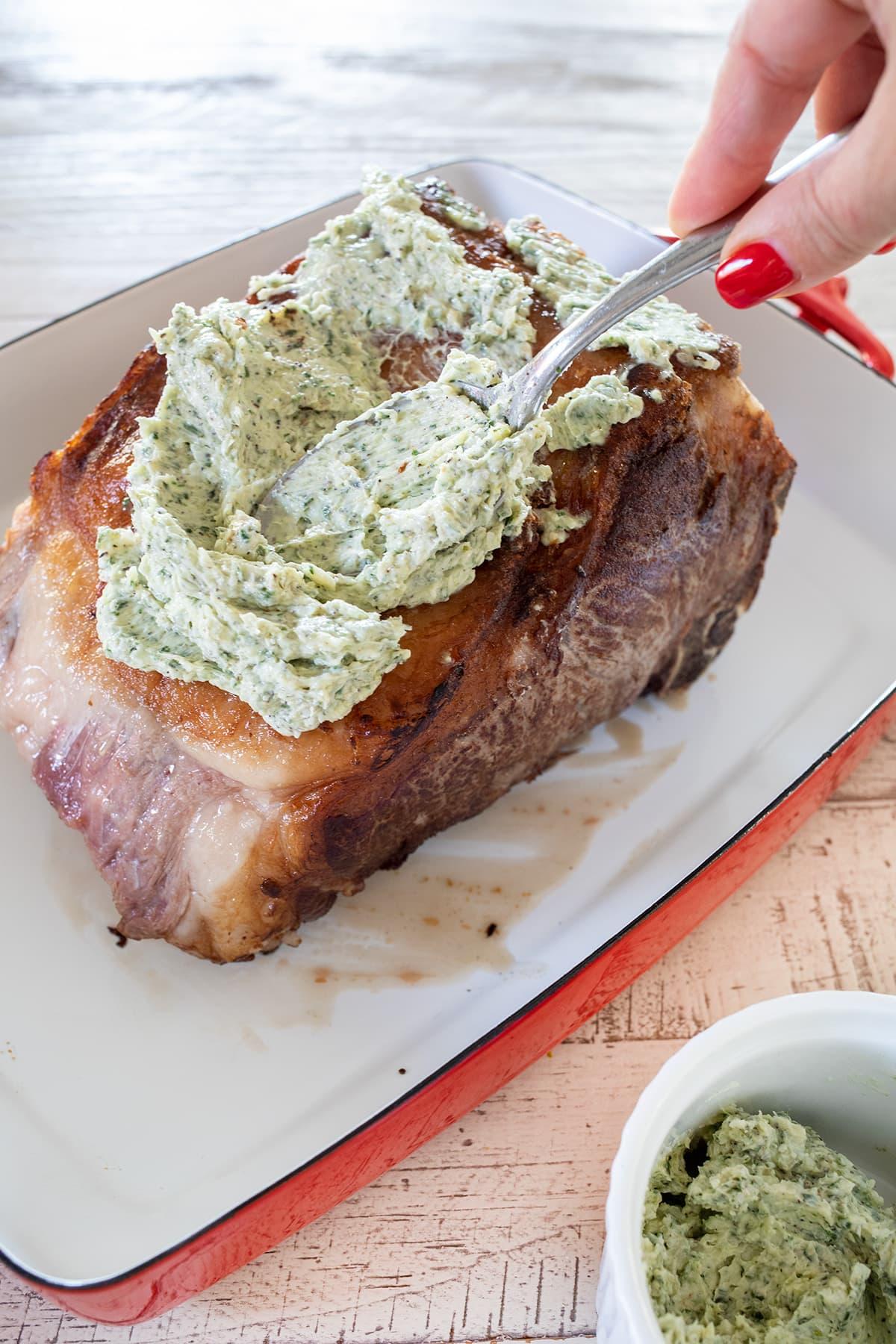 Garlic Herb Butter Beef Roast