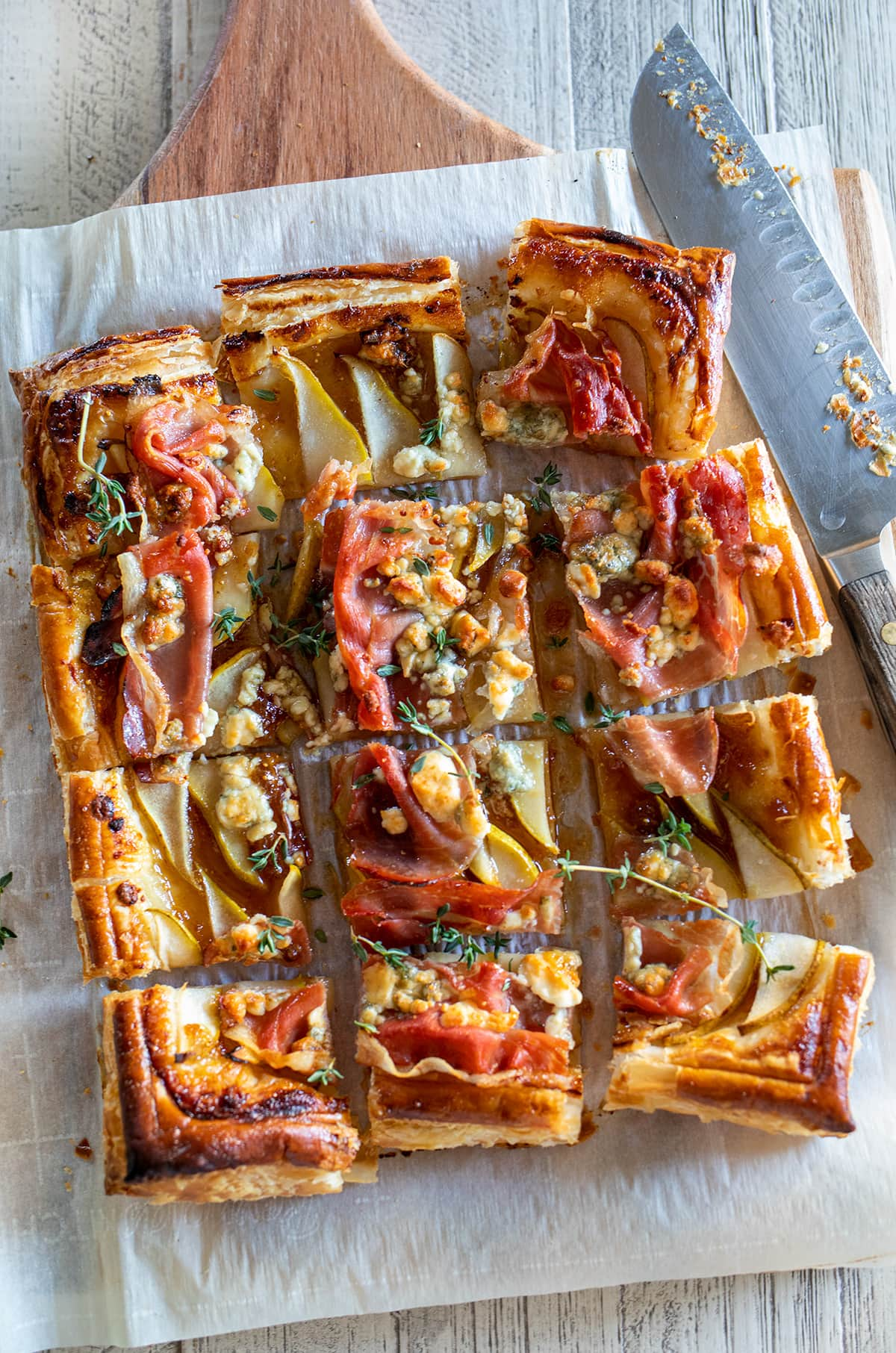 Pear, Prosciutto and Blue Cheese Puff Pastry Tarte