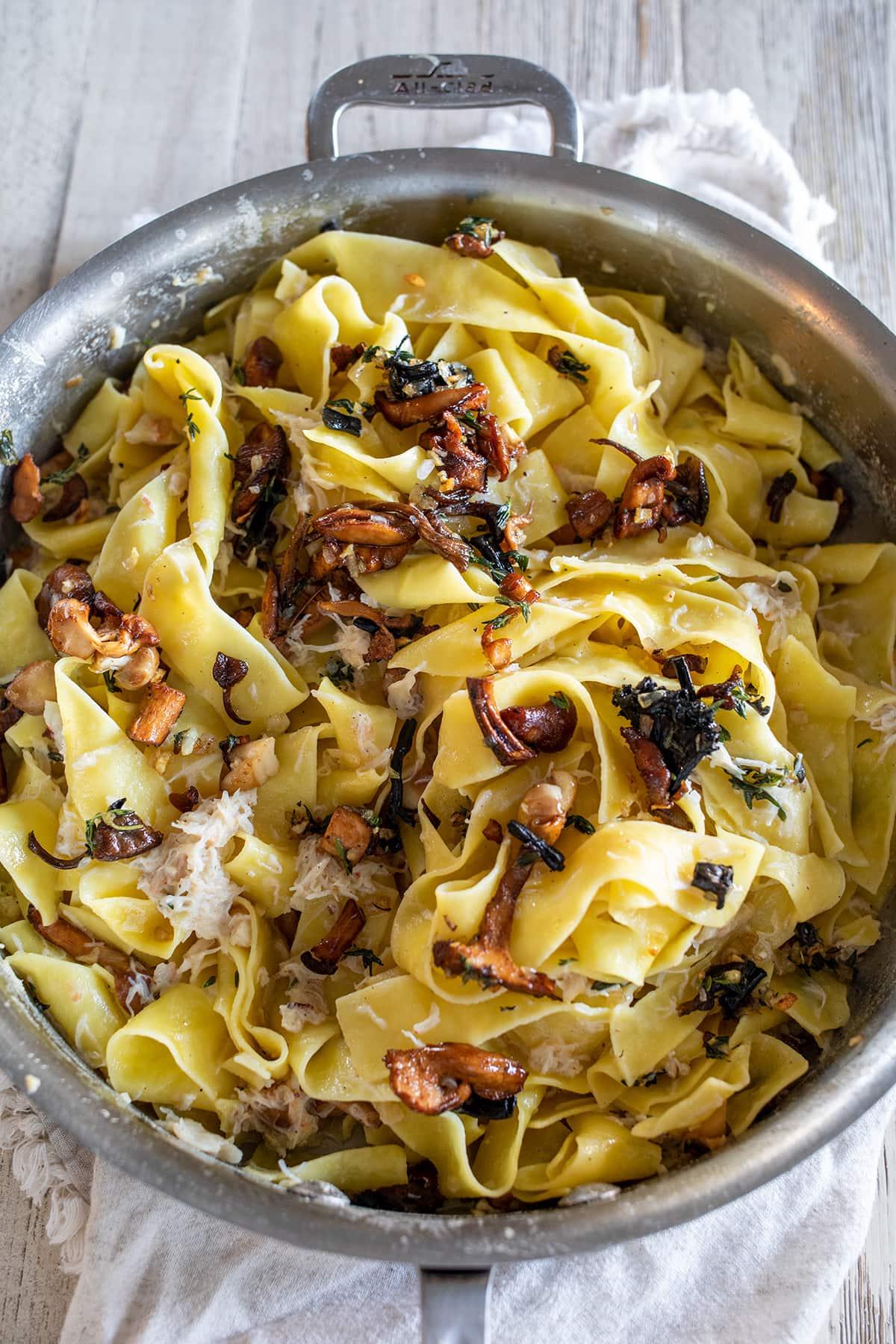 Wild Mushroom and Crab Pappardelle Pasta