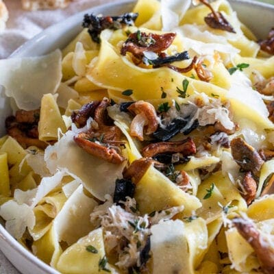 Wild Mushroom and Crab Pappardelle Pasta