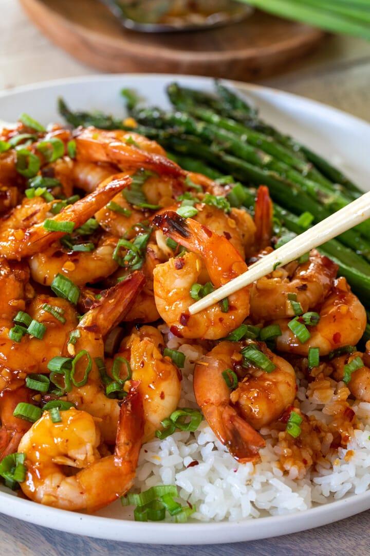 Sheet Pan Sweet Chili Garlic Shrimp with Asparagus